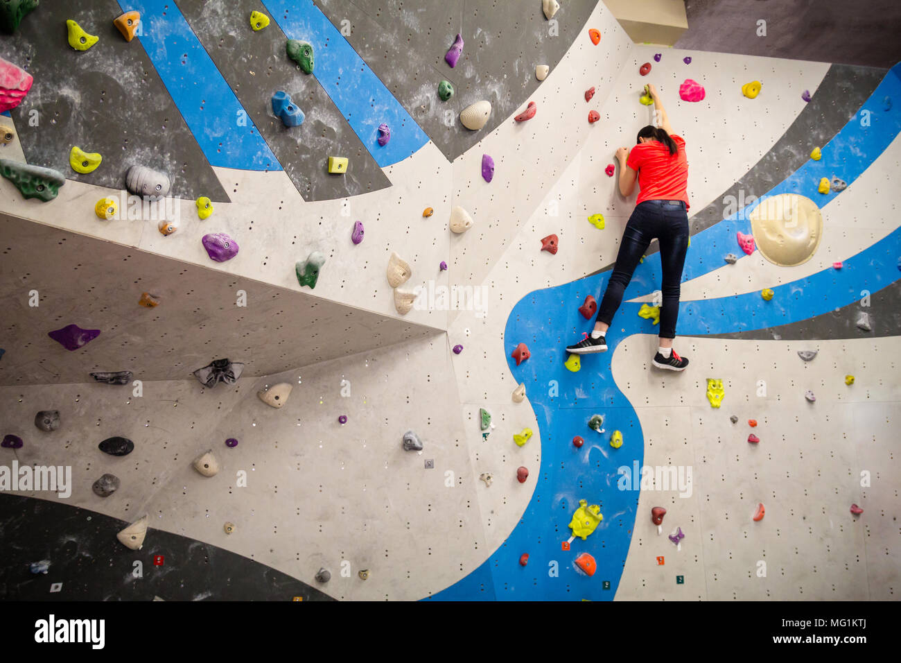 Active young climber woman climbing on indoor climbing wall. - Stock Image