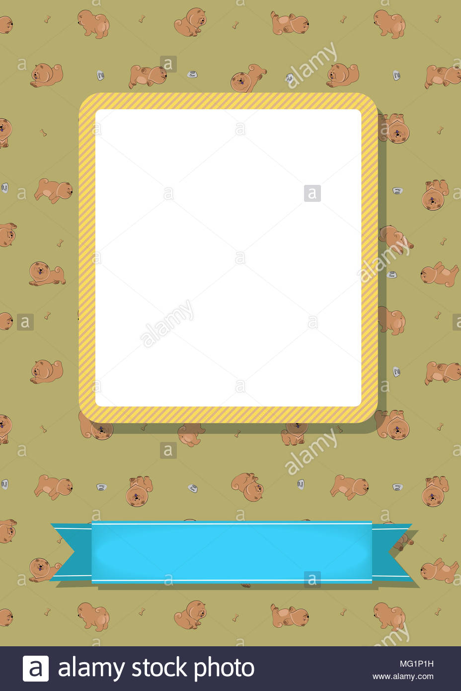 Funny Greeting Card Cartoon Brown Dogs Chow Chow Yellow Frame For