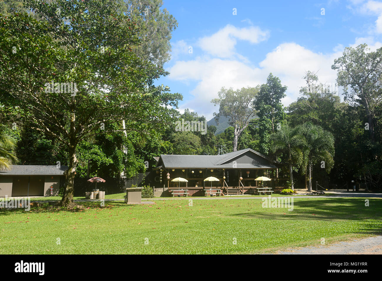 Café Restaurant of the popular Cape Tribulation Campsite, Daintree National Park, Far North Queensland, FNQ, QLD, Australia - Stock Image