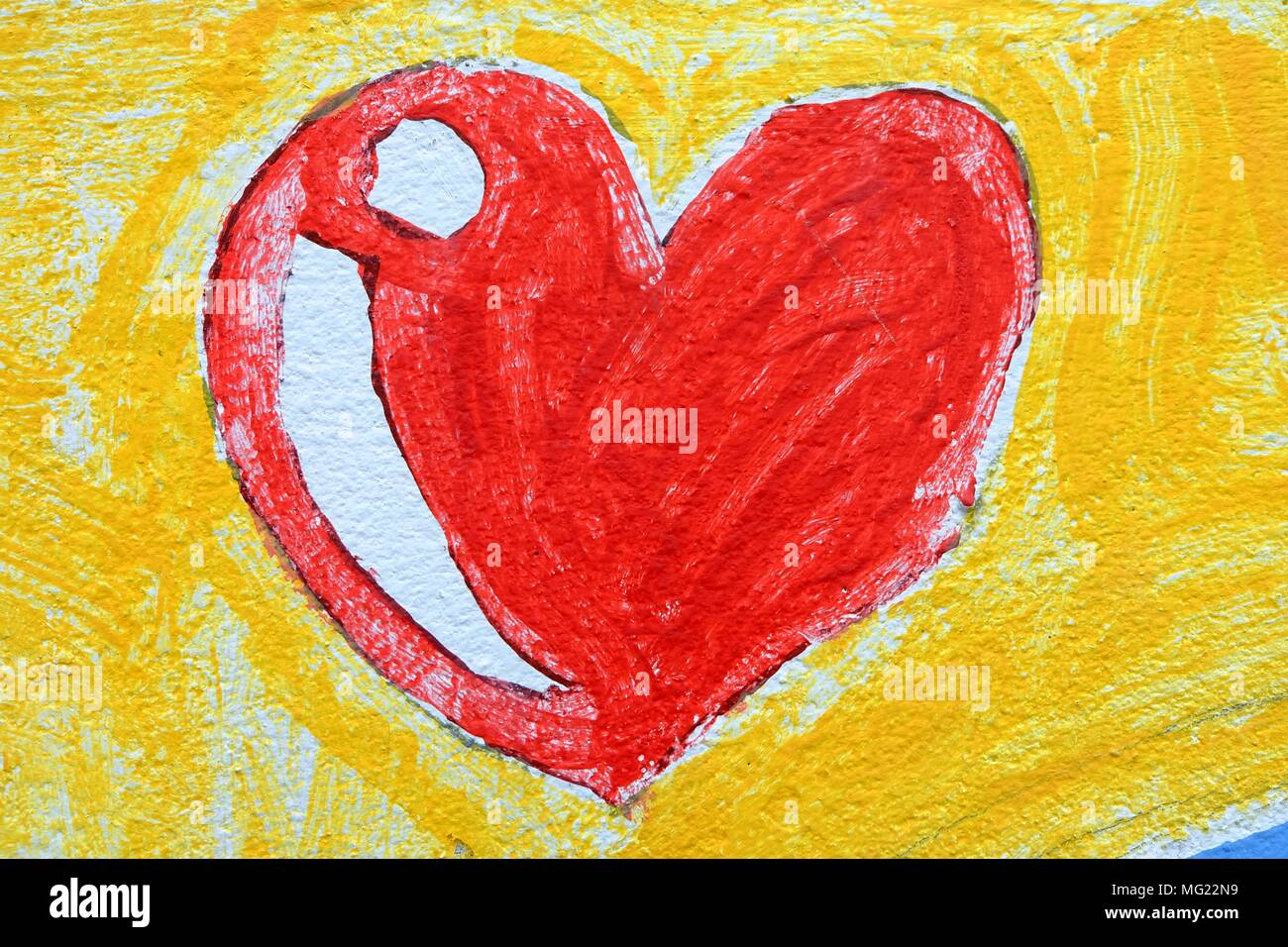 Heart Drawing on Concrete Wall Background. Stock Photo