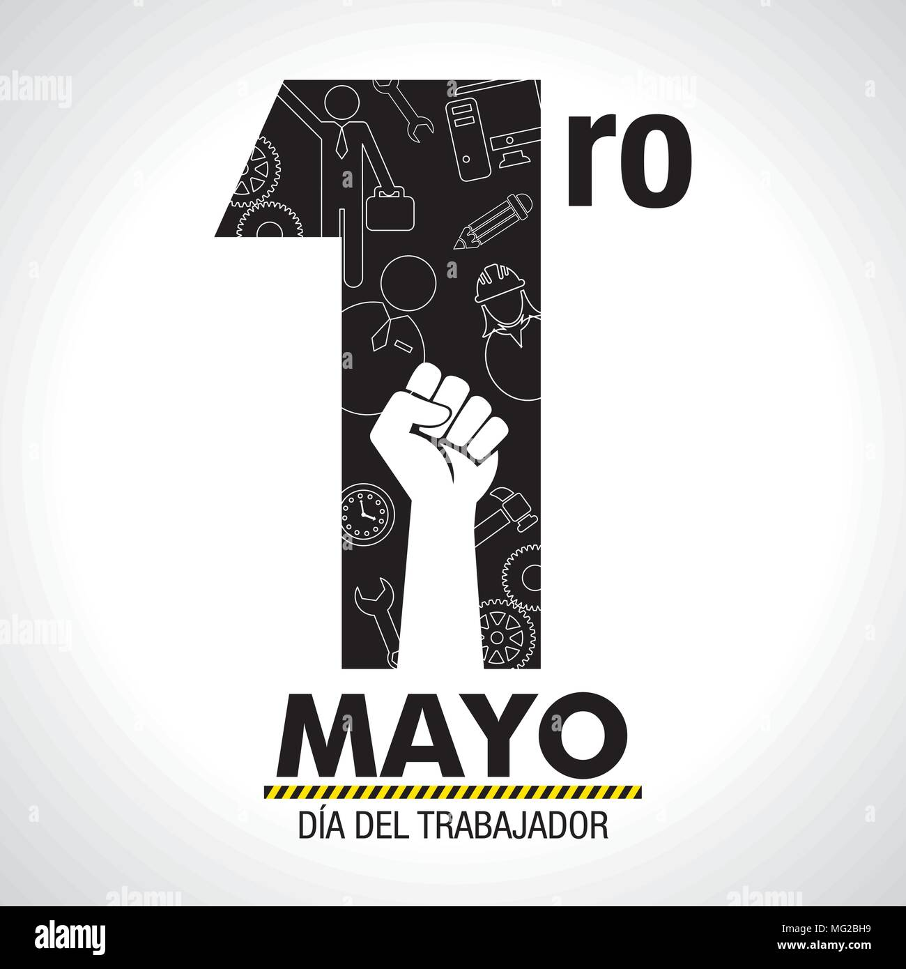 Dia del trabajador international workers day in spanish language dia del trabajador international workers day in spanish language greeting card icons of woman man hammer fist inside number one in black m4hsunfo