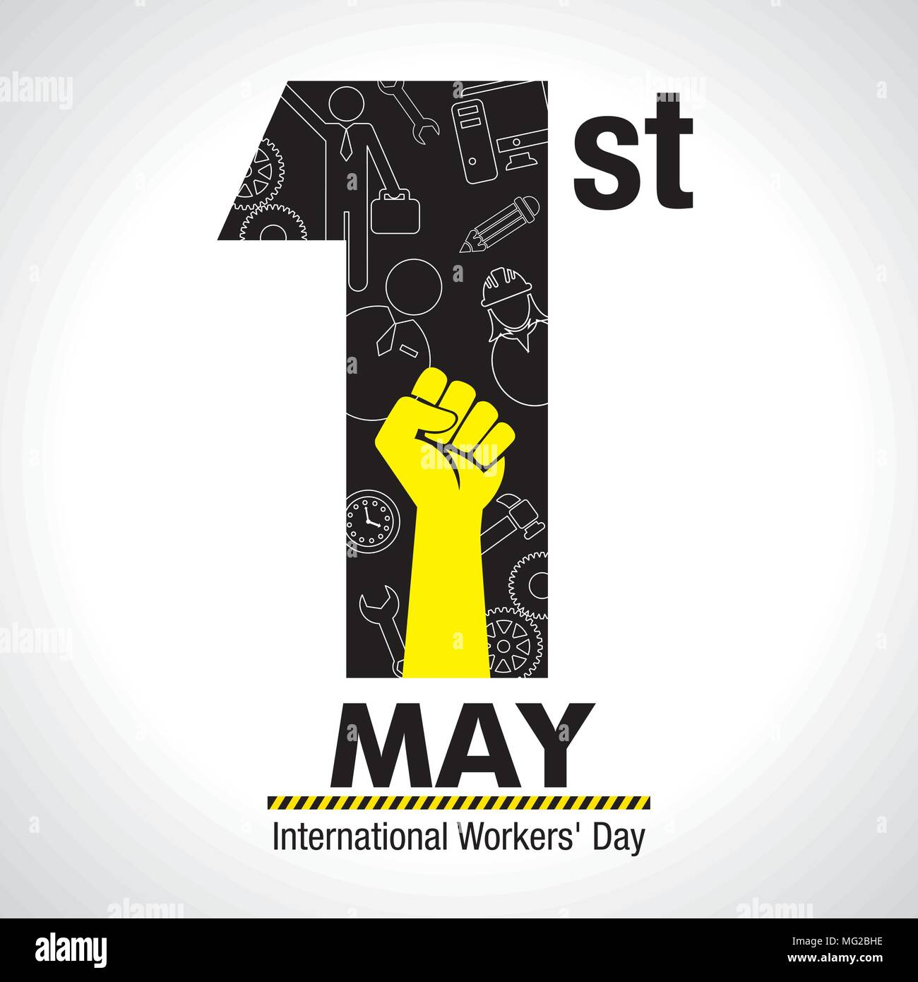 International workers day greeting card icons of woman man international workers day greeting card icons of woman man hammer gears fist computer pencil clock inside number one in black color m4hsunfo