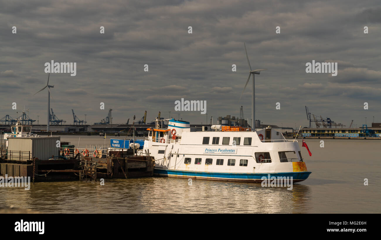 Gravesend, Kent, England, UK - September 23, 2017: View at the River Thames with the cruise ship Princess Pocahontas - Stock Image