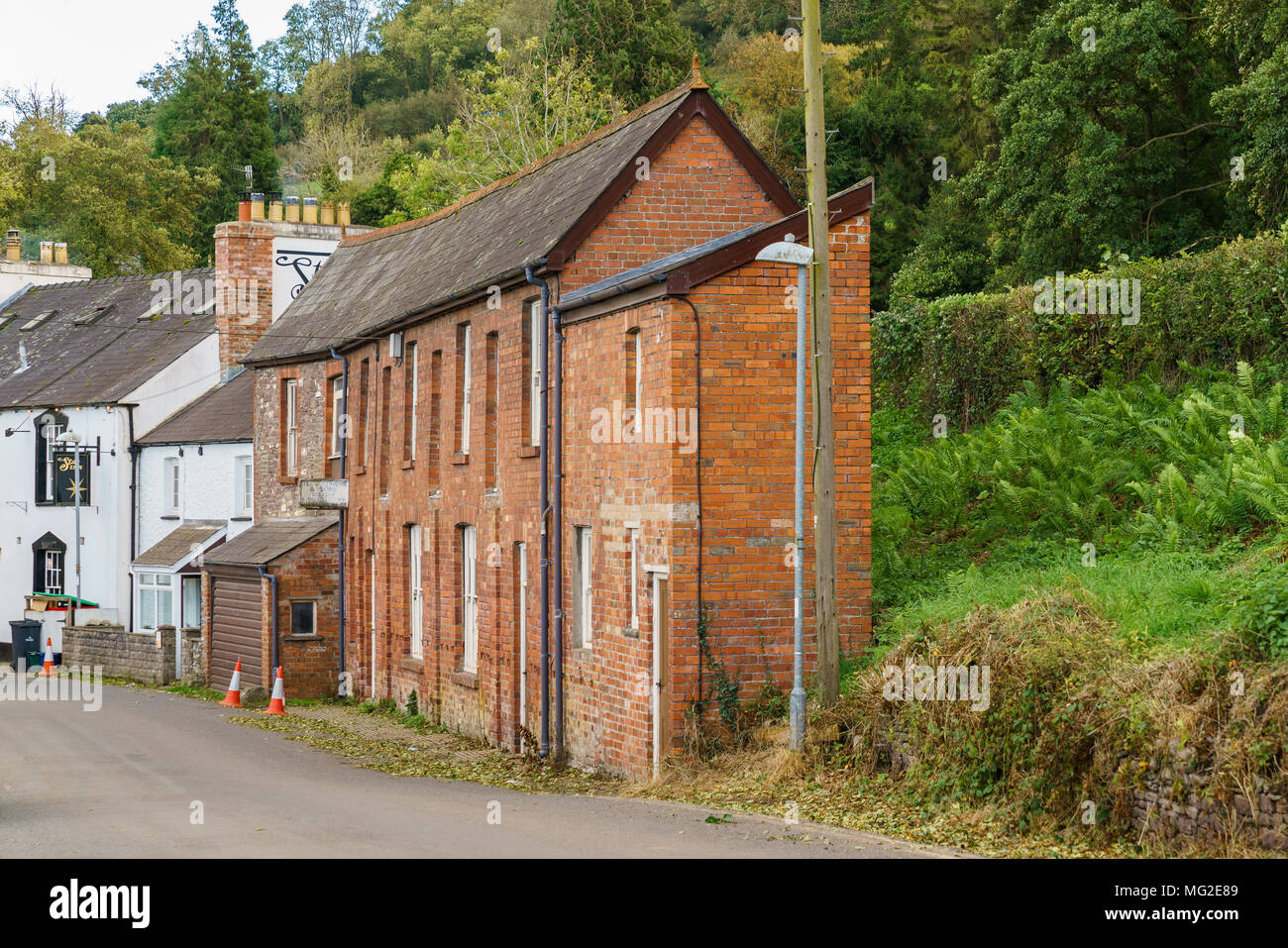 Talybont on Usk, Powys, Wales, UK - October 05, 2017: A narrow house on the main road (B4558) - Stock Image