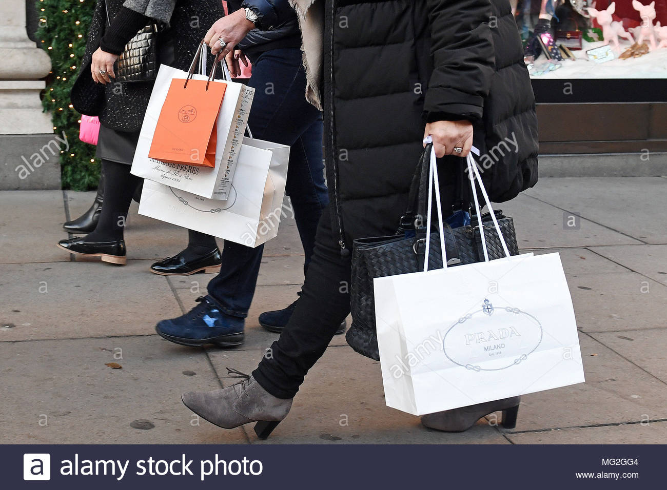 File photo dated 04/12/16 of shoppers. Consumer confidence fell in April amid pessimism about personal finances and the general economic situation for the year ahead. - Stock Image