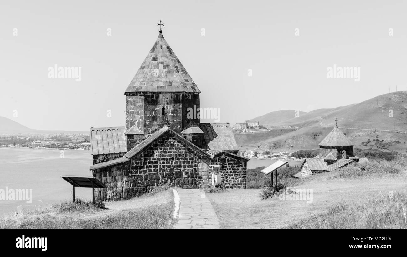 Sevanavank (Sevan Monastery), a monastic complex located on a  shore of Lake Sevan in the Gegharkunik Province of Armenia - Stock Image