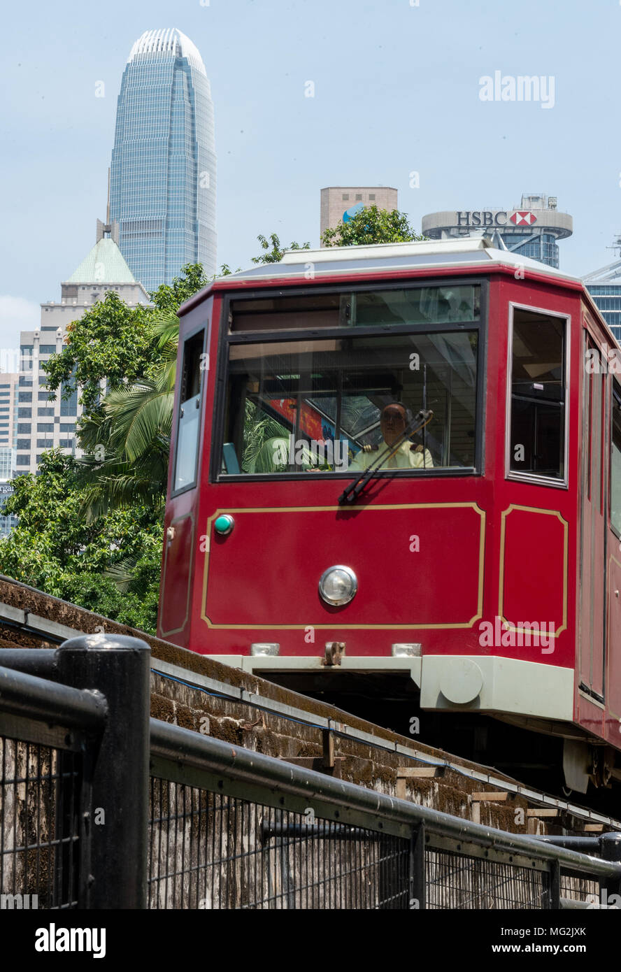 HONG KONG, CHINA - APRIL 01,2018: Peak Tram, The Peak Hong Kong.The Peak Tram is the world's steepest funicular railway and over 120 years old.Running - Stock Image