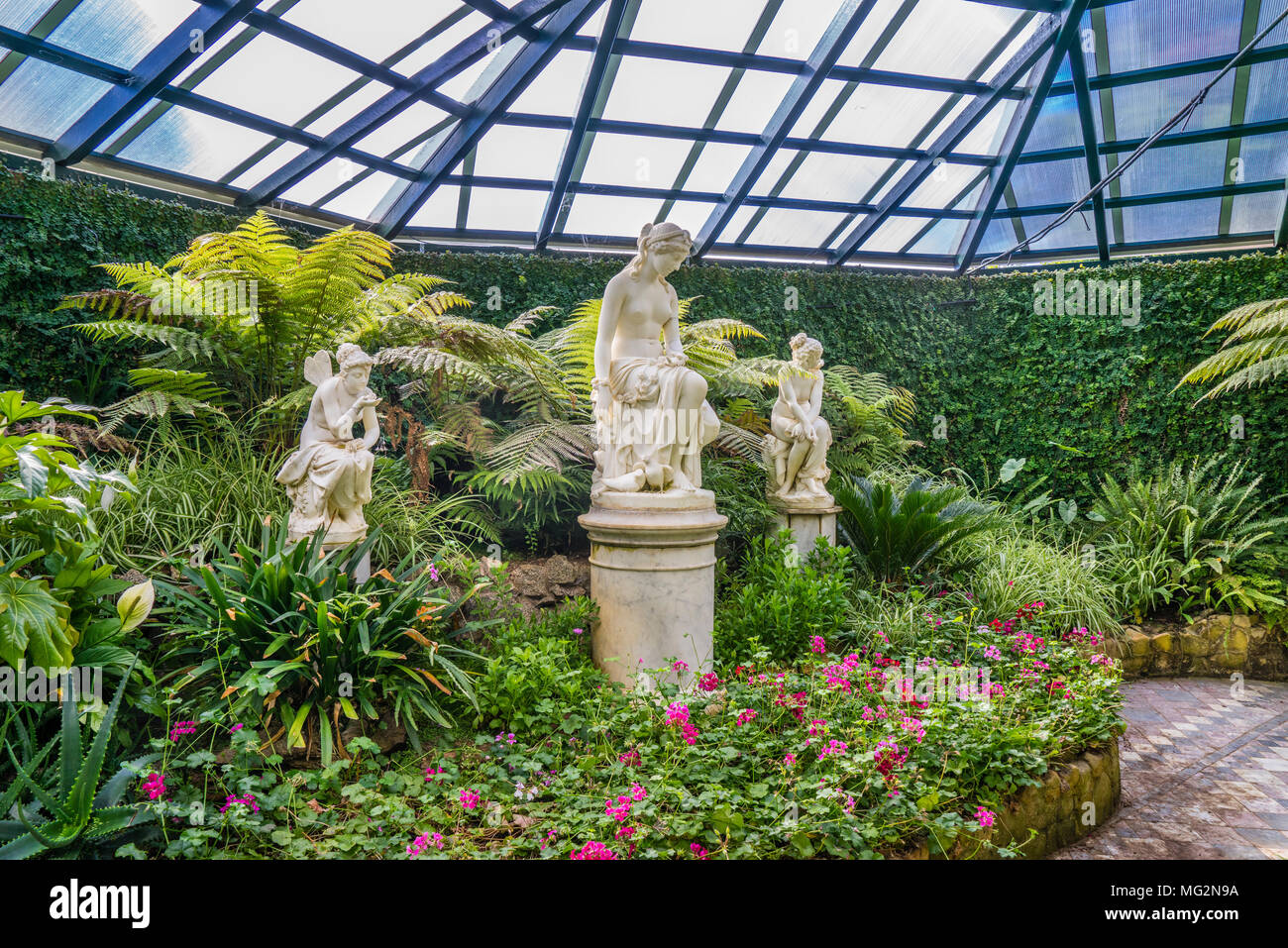 lush green plant collection at the Fernery of Machattie Park Bathurst, a lovely 19th century Victorian country park, Central Tablelands, New South Wal - Stock Image