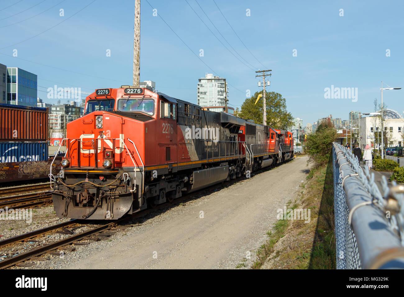 Vancouver, Canada - April 2018 CN Rail Train Engine - Stock Image