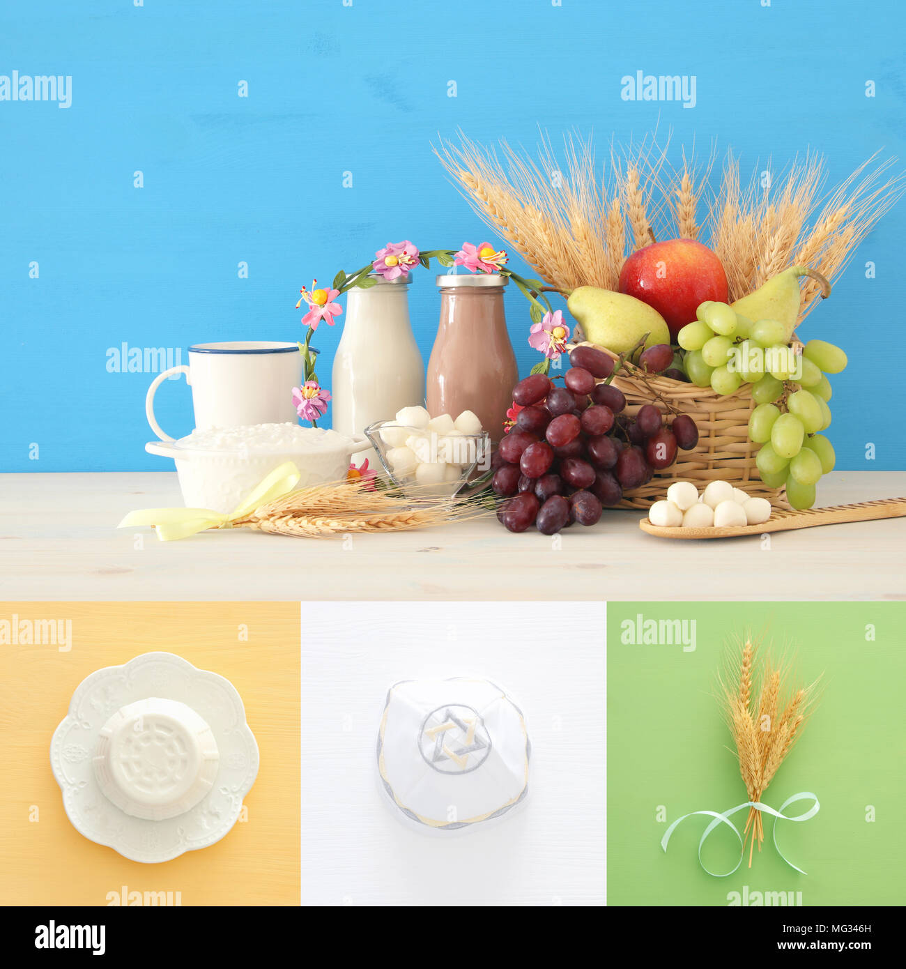 collage of dairy products and fruits. Symbols of jewish holiday - Shavuot - Stock Image