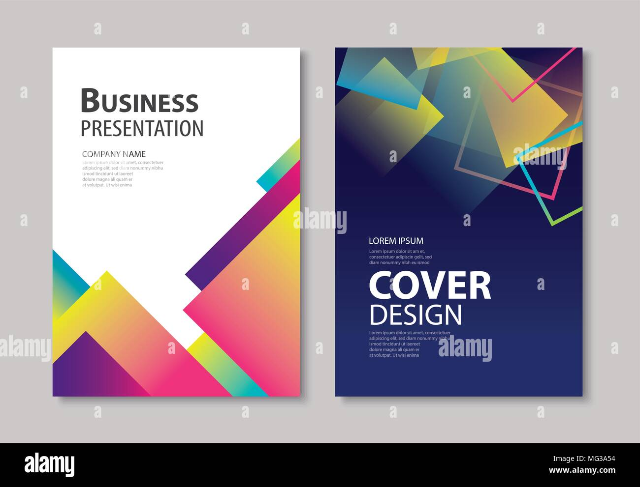 Book Cover Art Template ~ Abstract gradient modern geometric flyer and poster design