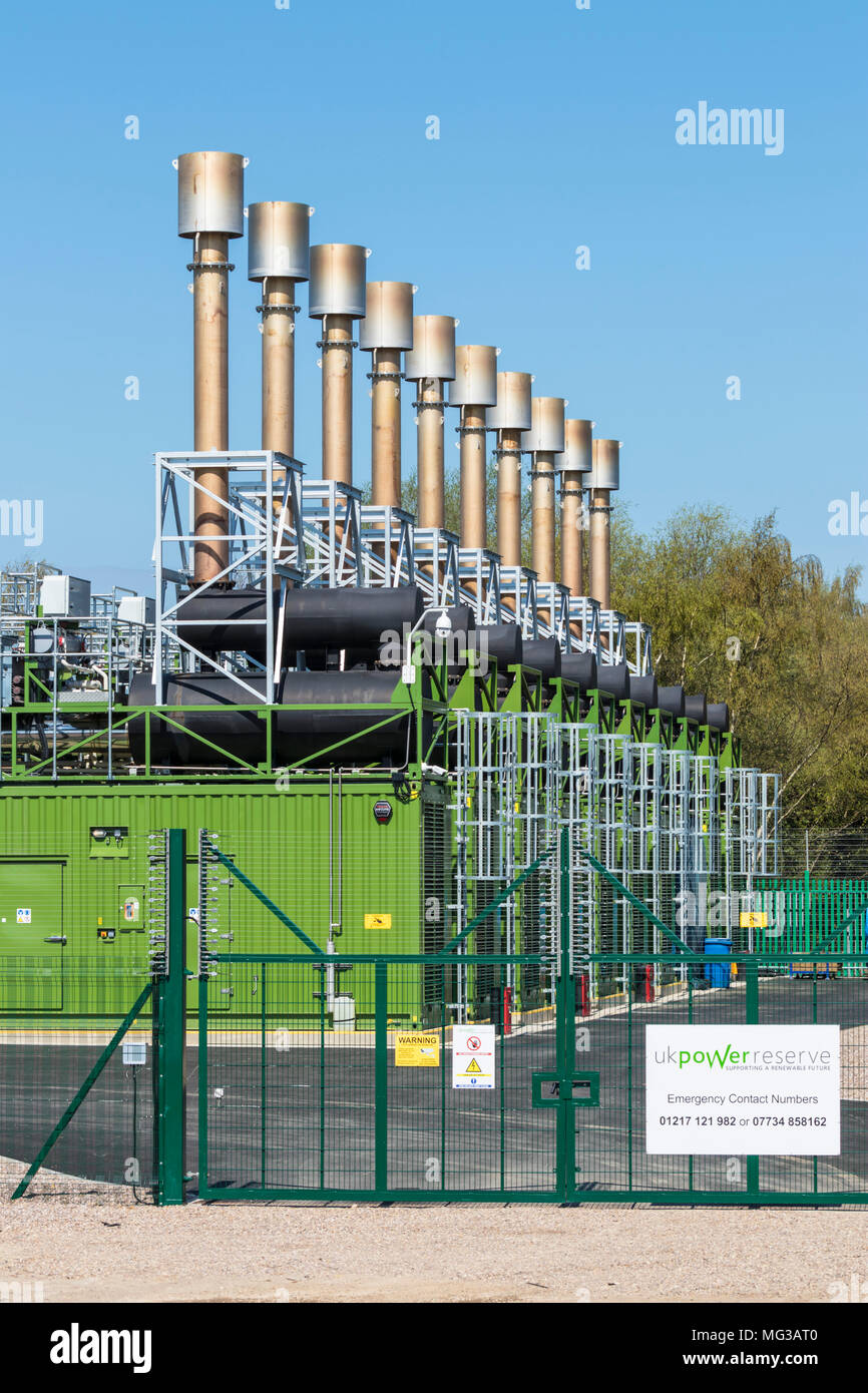 Local gas power station with battery storage for supplementing the national grid in times of peak power usage long eaton Derbyshire England - Stock Image