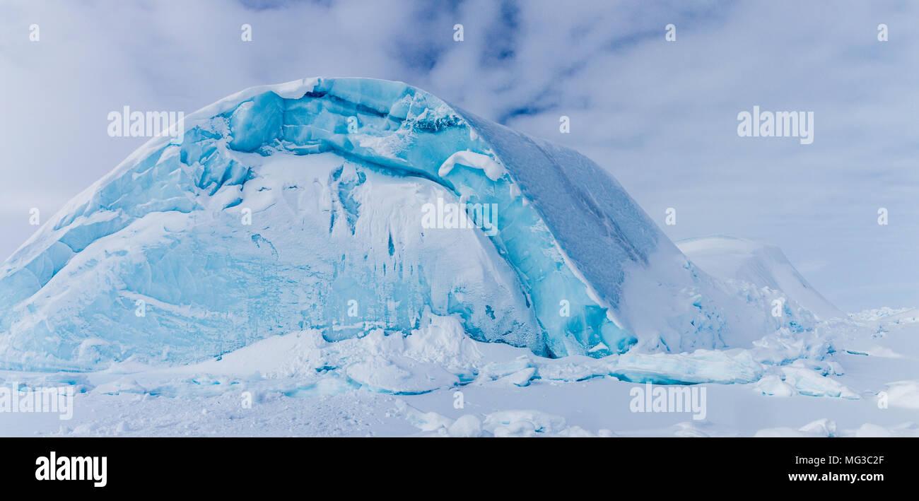 Icebergs frozen into the fjords of Baffin Island, Nunavut, Canada Stock Photo