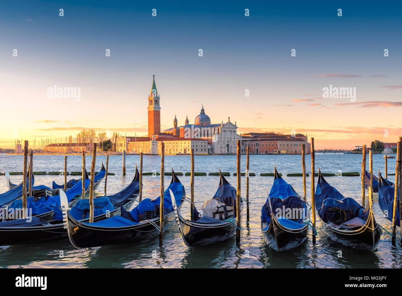 Venetian gondolas at sunrise, Venice, Italy. Stock Photo
