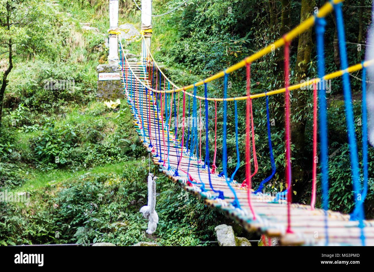 A hanging rope bridge over the waterfall in Panchpula Dalhousie, Himachal Pradesh, India. Used for adventure activities for kids and teenagers. - Stock Image