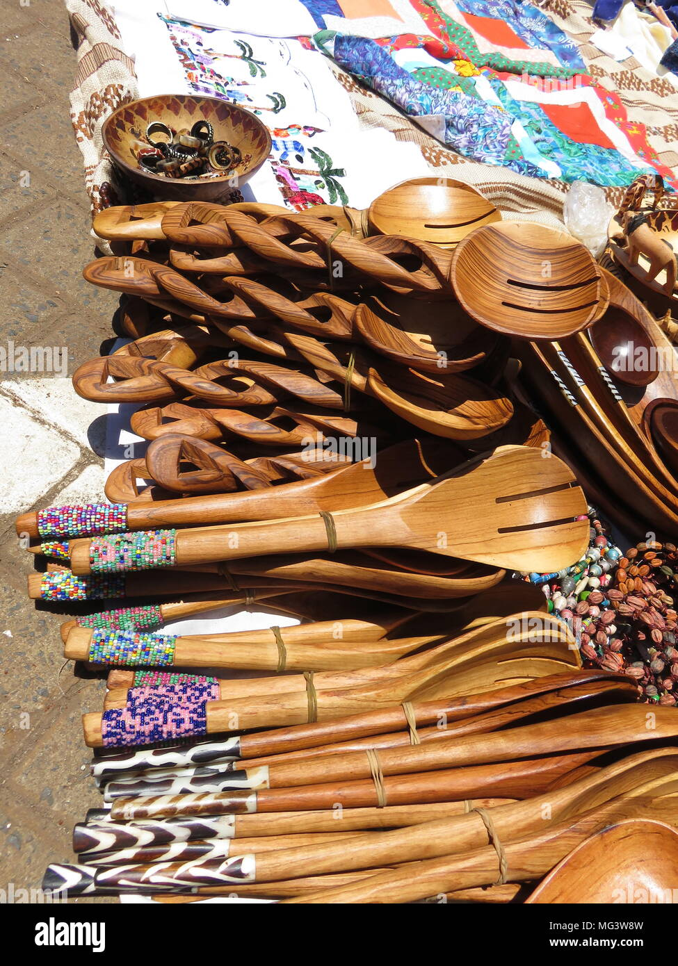 Wooden Salad Spoons in the Masaai Market Stock Photo