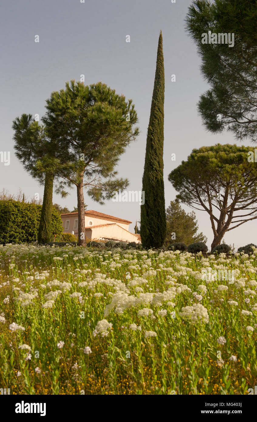 A holiday home on the grounds of La Coquillade, a holiday resort in the Luberon. - Stock Image