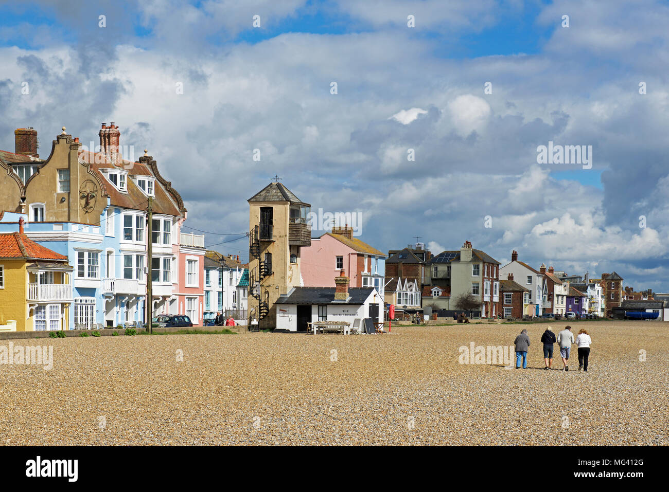 The sea front and beach, Aldeburgh, Suffolk, England UK - Stock Image