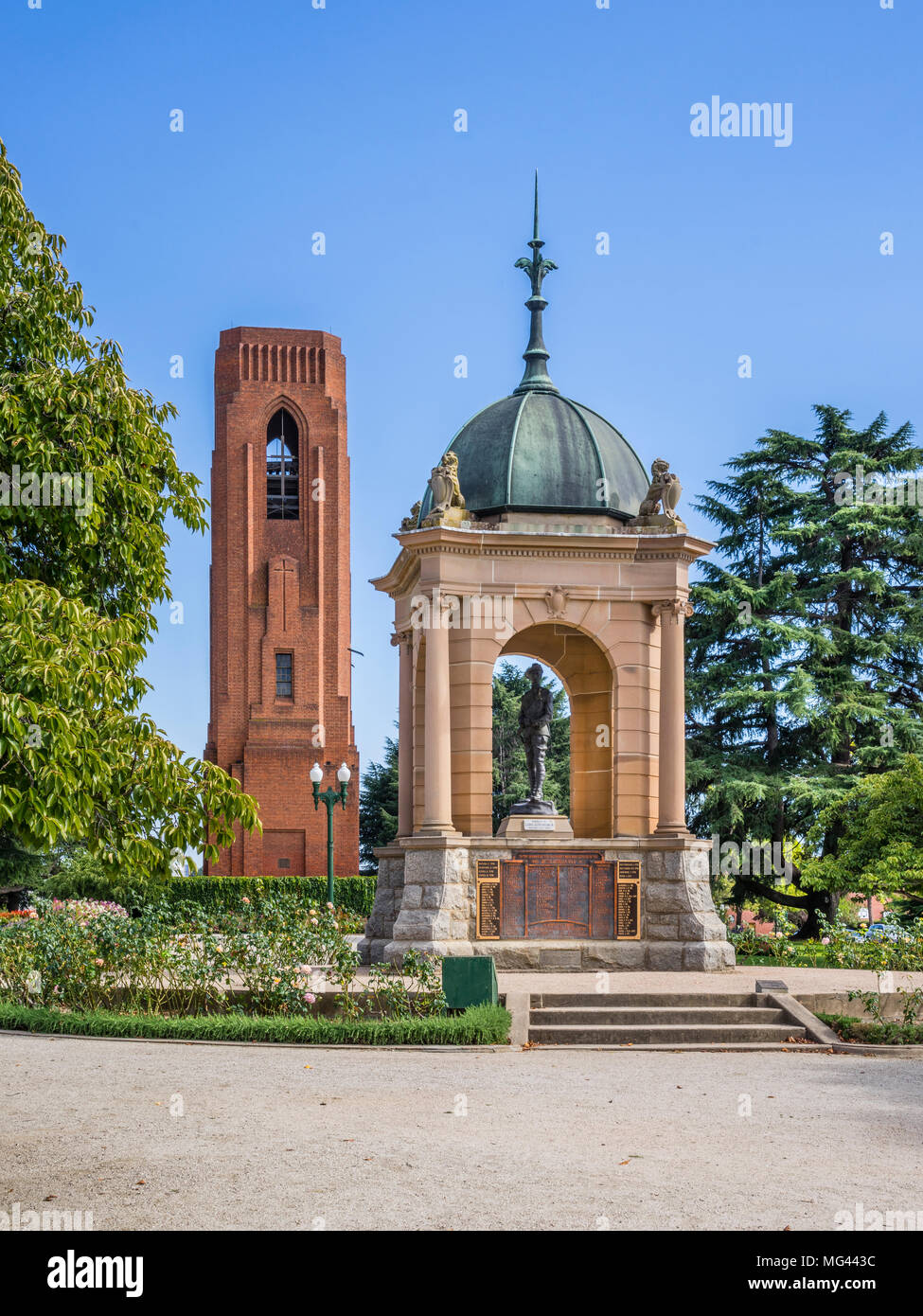 view of the Boer War Memorial and the 35-bell Carillon also dedicated as a war memorial on Kings Parade, Bathurst, Central Tablelands, New South Wales - Stock Image