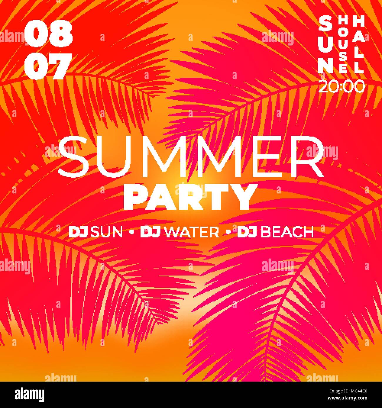 Tropical party poster template. Sunset summer rave background with ...