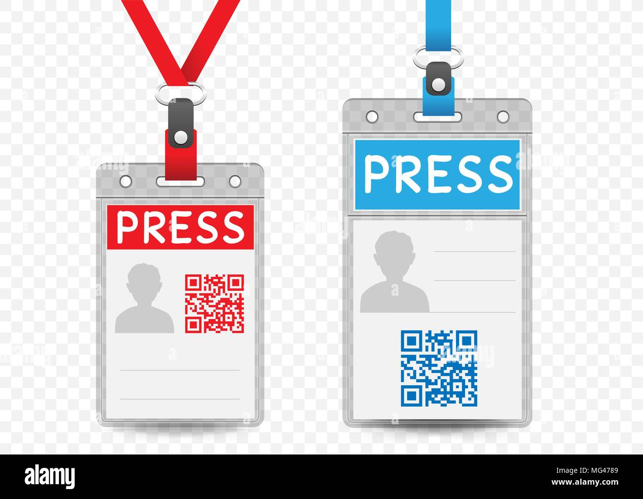 Press journalist vertical badge empty template with blue and red ...