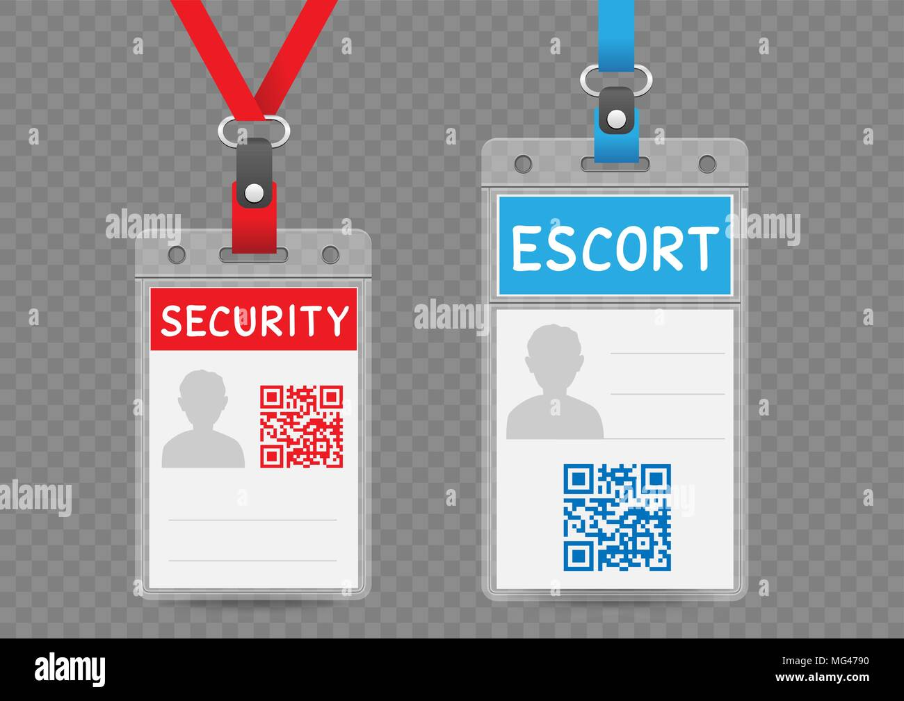 Security escort vertical badge empty template with blue and red ...