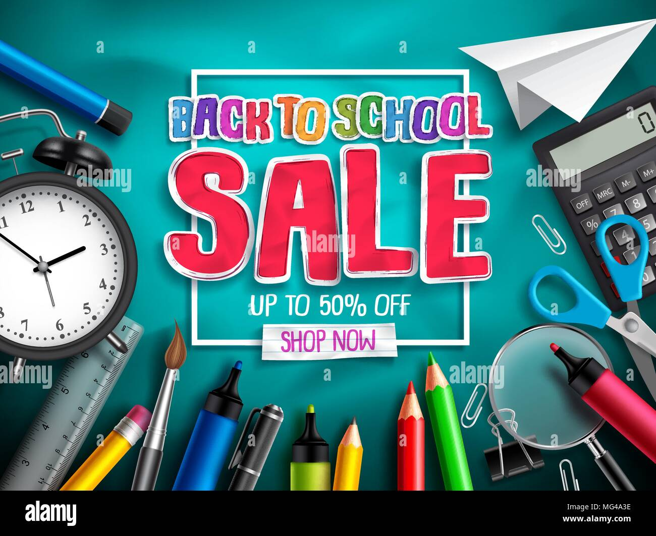 Back To School Sale Vector Banner Design For Discount Promotion With School Supplies Education Elements And Sale Text In Textured Background Vector Stock Vector Image Art Alamy