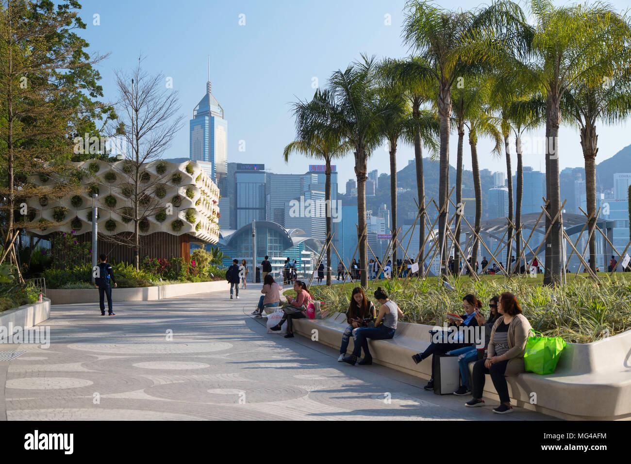 Salisbury Garden and skyline, Tsim Sha Tsui, Hong Kong - Stock Image