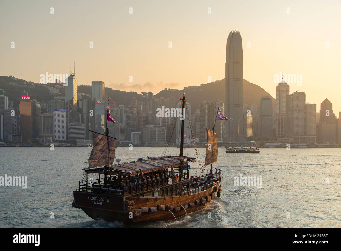 Junk boat in Victoria Harbour, Hong Kong Island, Hong Kong Stock Photo