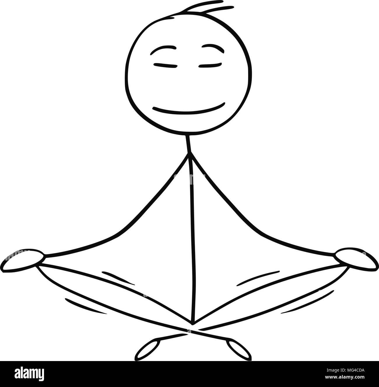 Cartoon Of Man Or Businessman In Yoga Lotus Position For Relaxation And Meditation Stock Vector Image Art Alamy