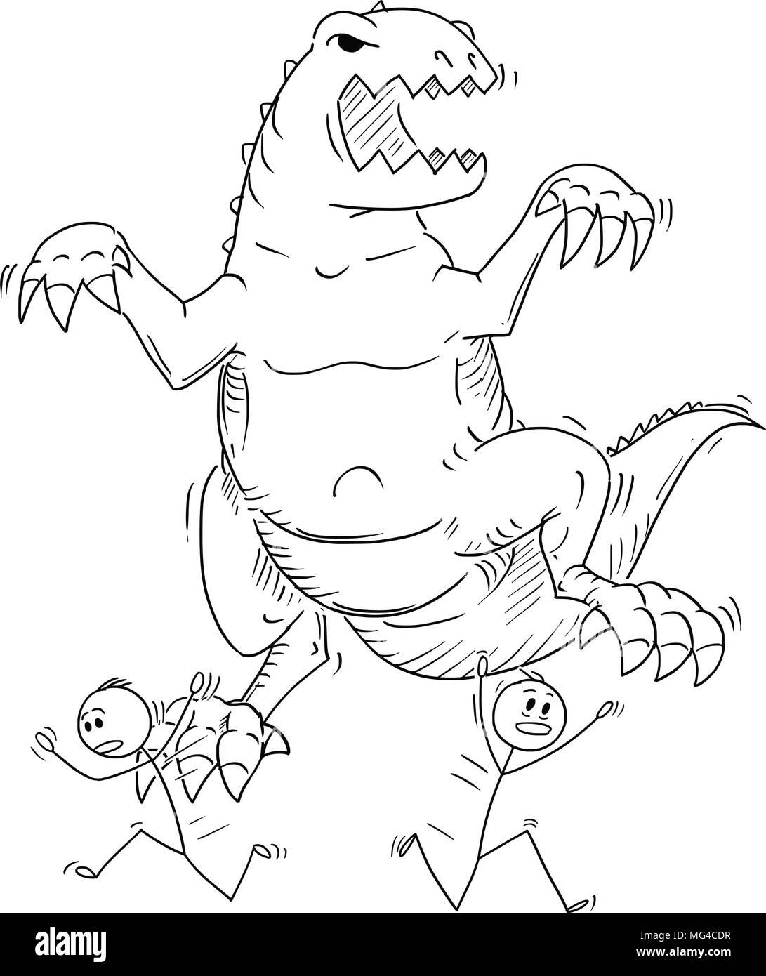 Cartoon of People or Businessmen Running Away From Monster Dinosaur Godzilla Creature - Stock Image