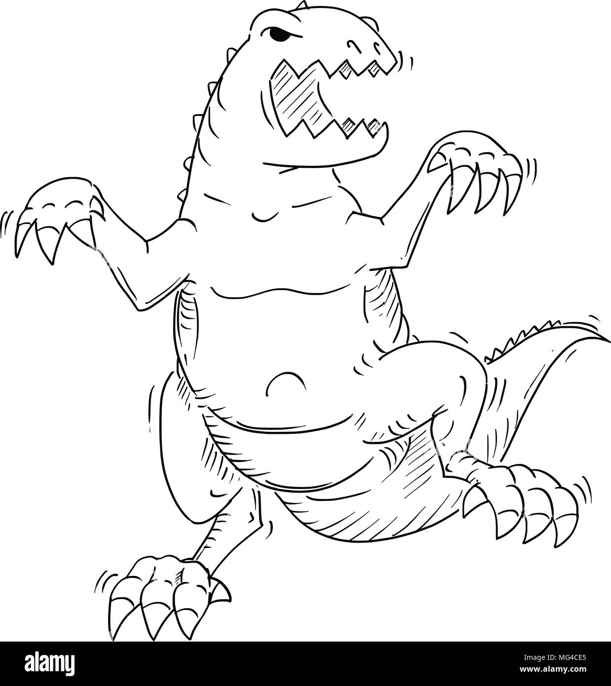 Cartoon of Monster Tyrannosaur or Dinosaur Godzilla Like Creature - Stock Image