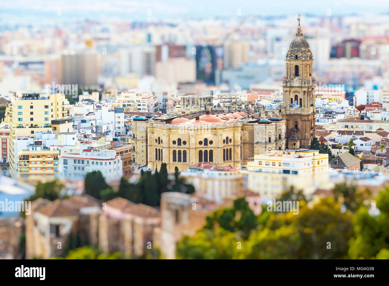 Cahedral of Malaga in Spain with tilt-shift effect - Stock Image