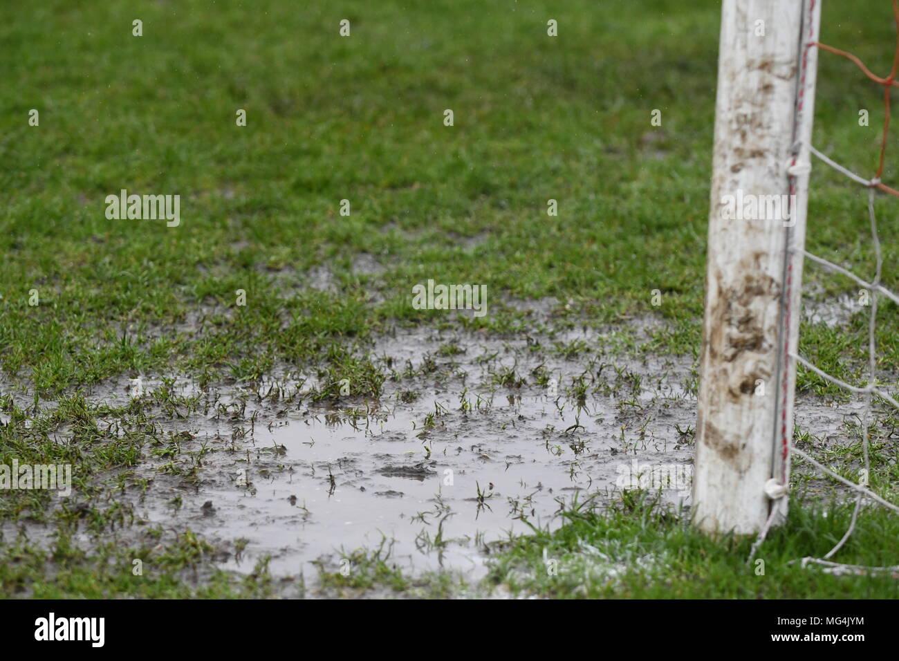 Waterlogged pitch Stock Photo