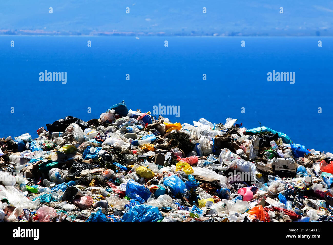 Garbage inside a processing plant - Stock Image