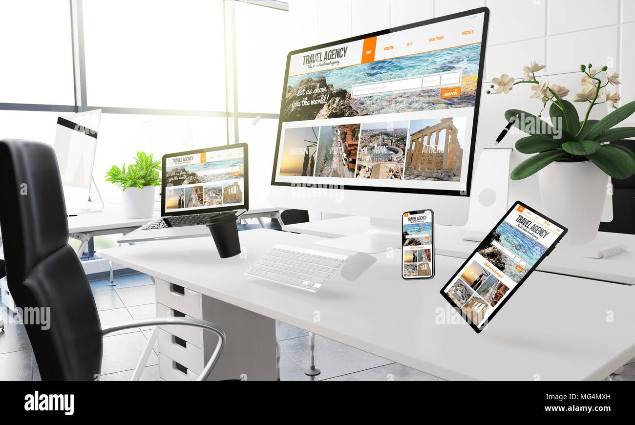 3d rendering mockup of computers, mobile devices and