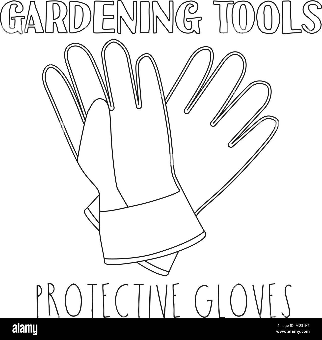 Line Art Black And White Protective Gloves Coloring Book Page For Adults Kids Garden Tool Vector Illustration Gift Card Certificate Sticker