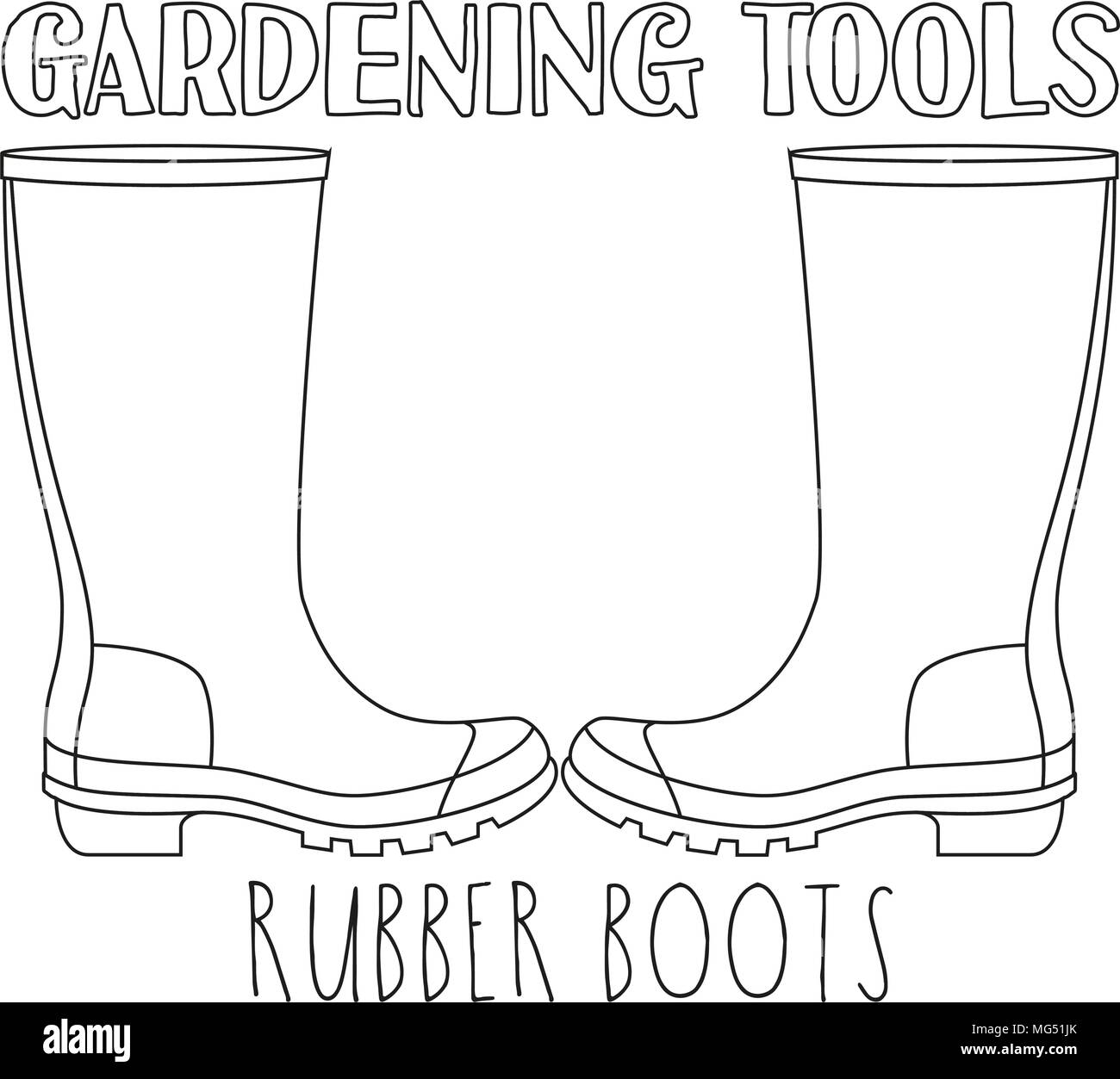 Line Art Black And White Rubber Boots Coloring Book Page For Adults Kids Garden Tool Vector Illustration Gift Card Certificate Sticker Badg