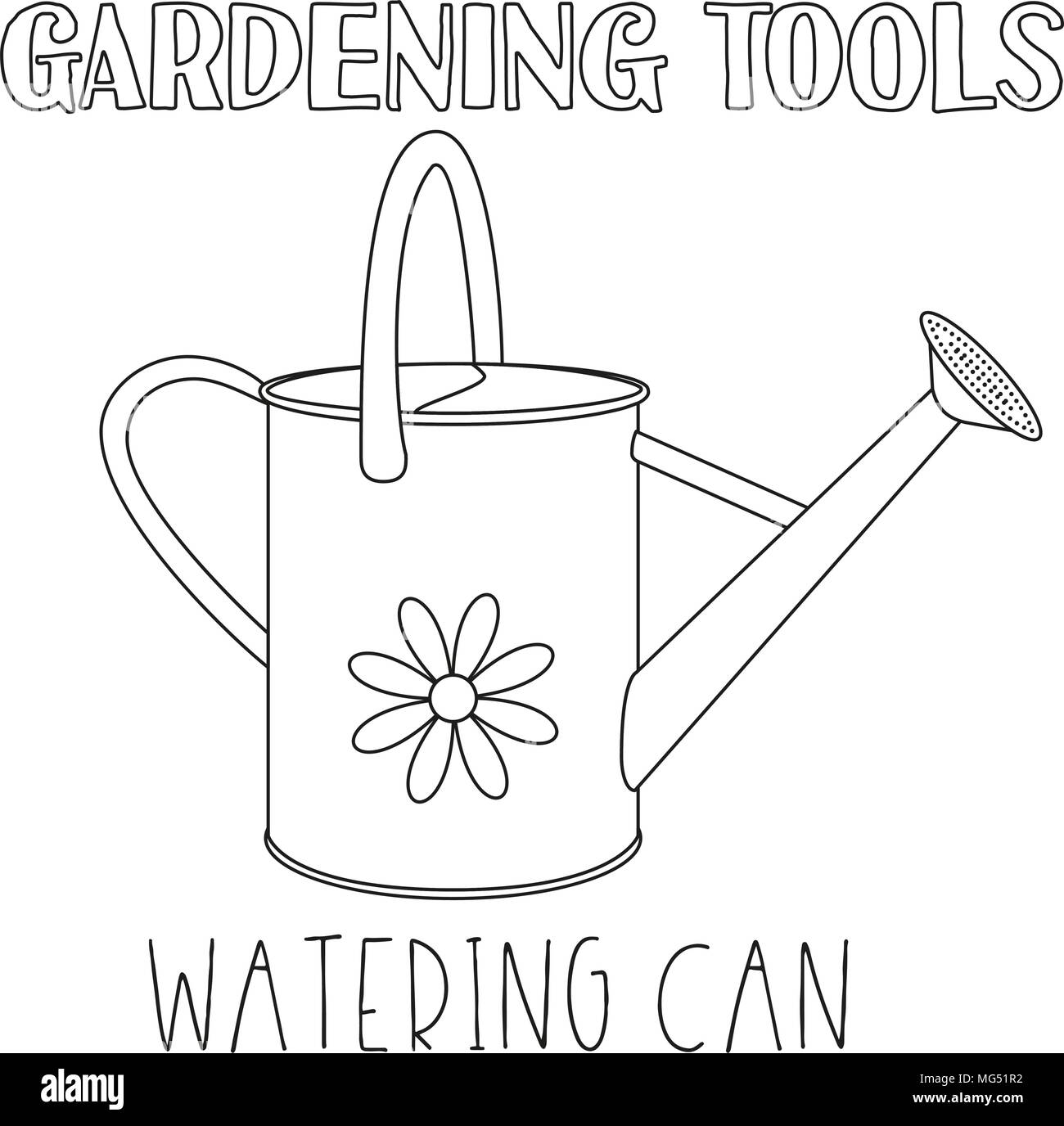 Line Art Black And White Watering Can Coloring Book Page For Adults Kids Garden Tool Vector Illustration Gift Card Certificate Sticker Badg