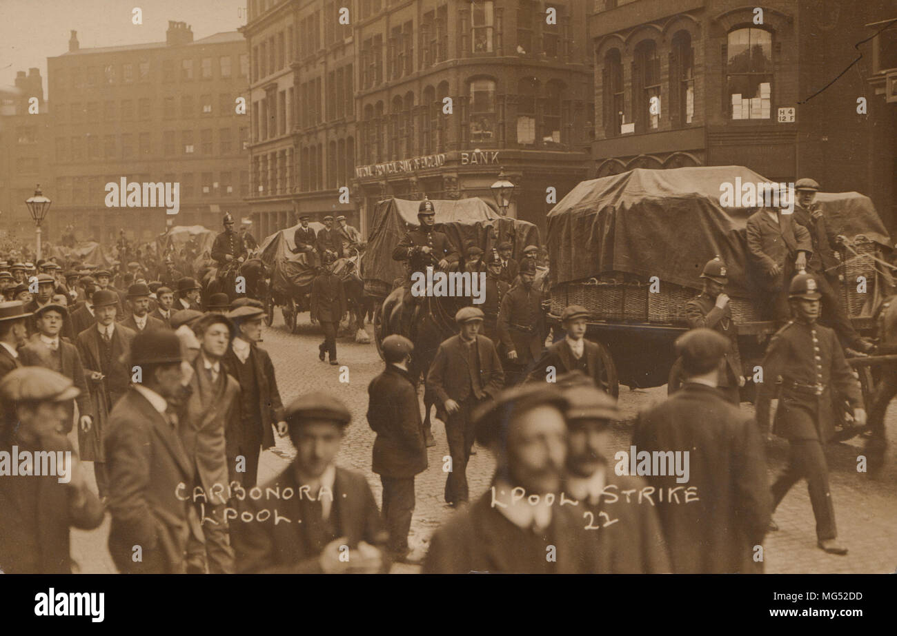 Real Photographic Postcard of a Police Escort During The Liverpool General Transport Strike of 1911 - Stock Image