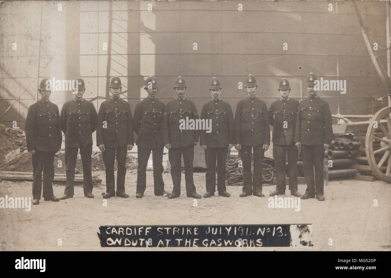 Real Photographic Postcard of Policemen and Miners at The South Wales Coal Strike in 1910 - Stock Image