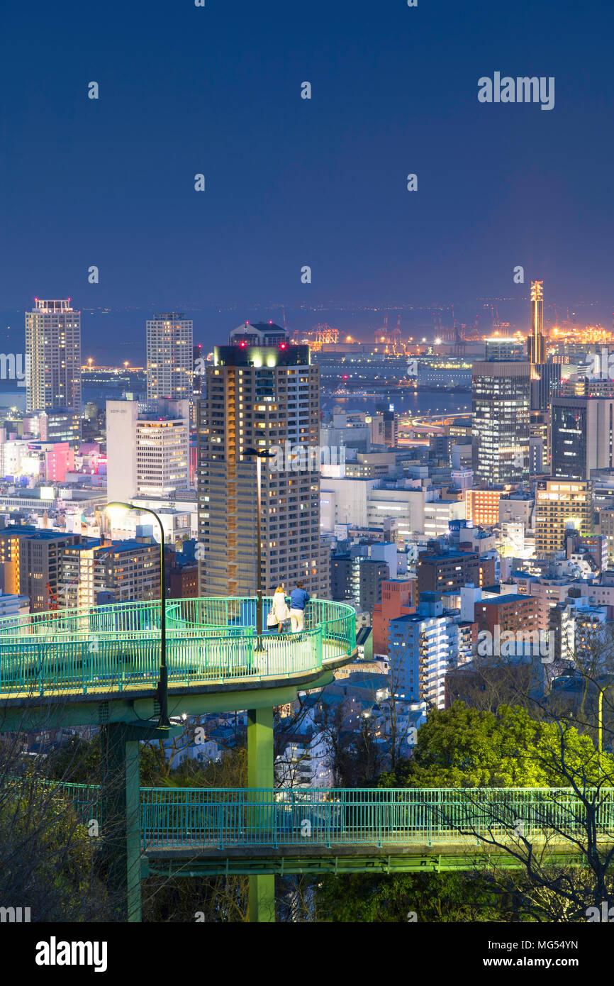 View of Kobe skyline at dusk, Kobe, Kansai, Japan - Stock Image