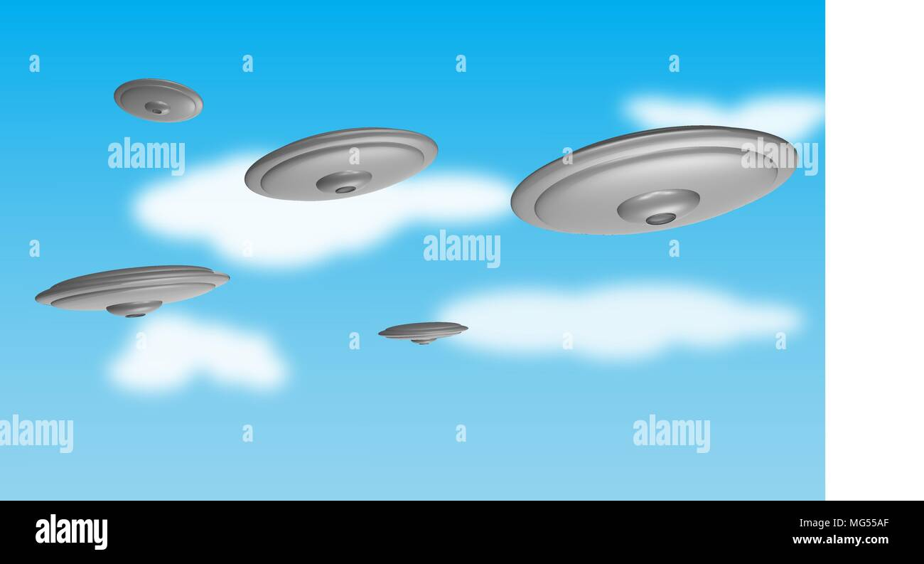 Group of flying saucers in the sky - Stock Vector