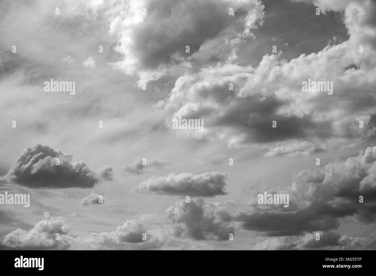 Beautiful scenic black and white picture of summer sunny cloudscape. Horizontal photography. - Stock Image