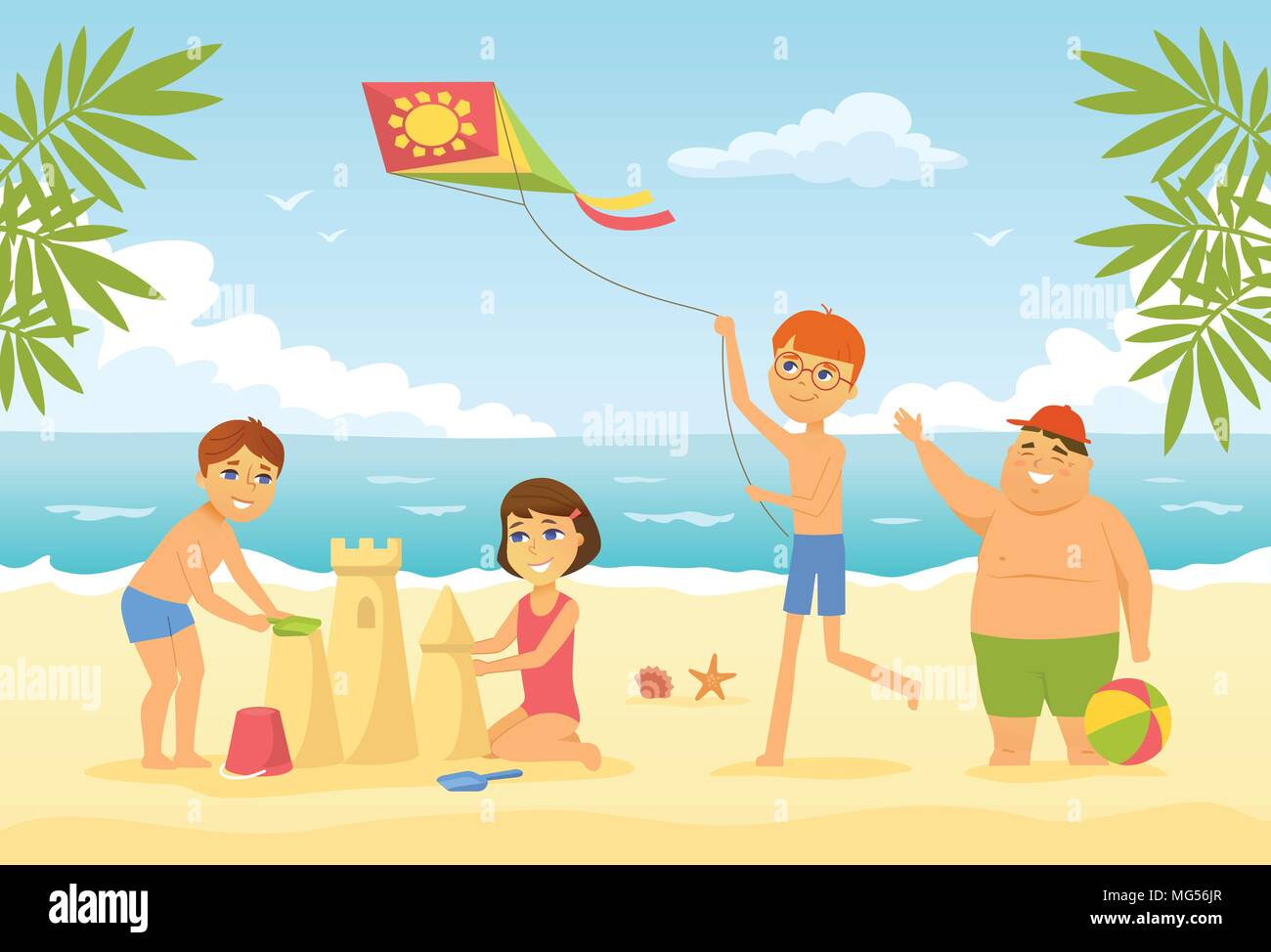 Happy Children On The Beach Cartoon People Character Illustration Stock Vector Image Art Alamy