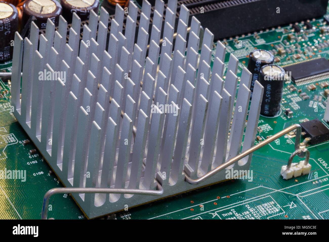 Macro photography of personal computer parts within the motherboard - Stock Image