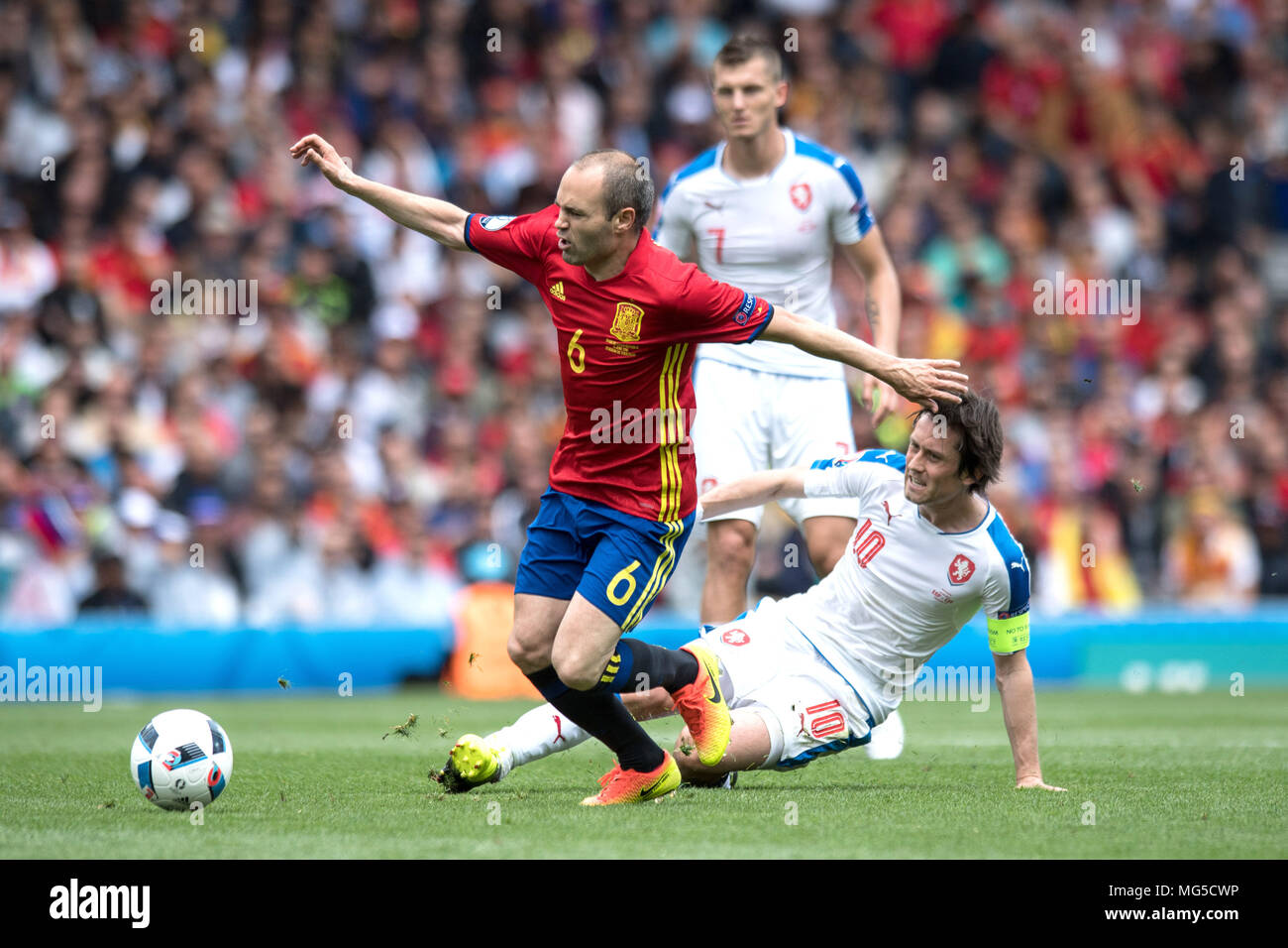 Tomas Rosicky, Andres Iniesta - Stock Image