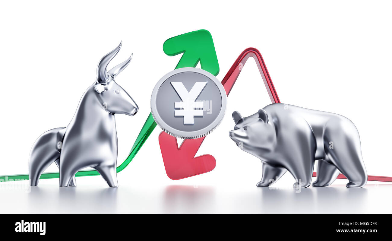 Bullish And Bearish Trends Of Japanese Yen - Stock Image