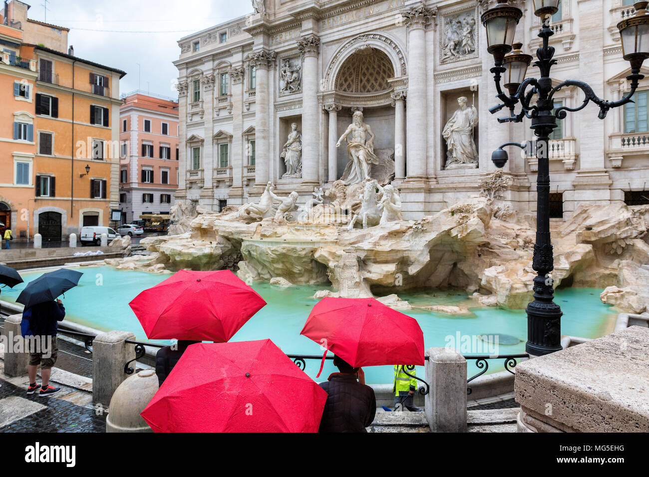 Rome Trevi Fountain at raining day, Rome, Italy. - Stock Image