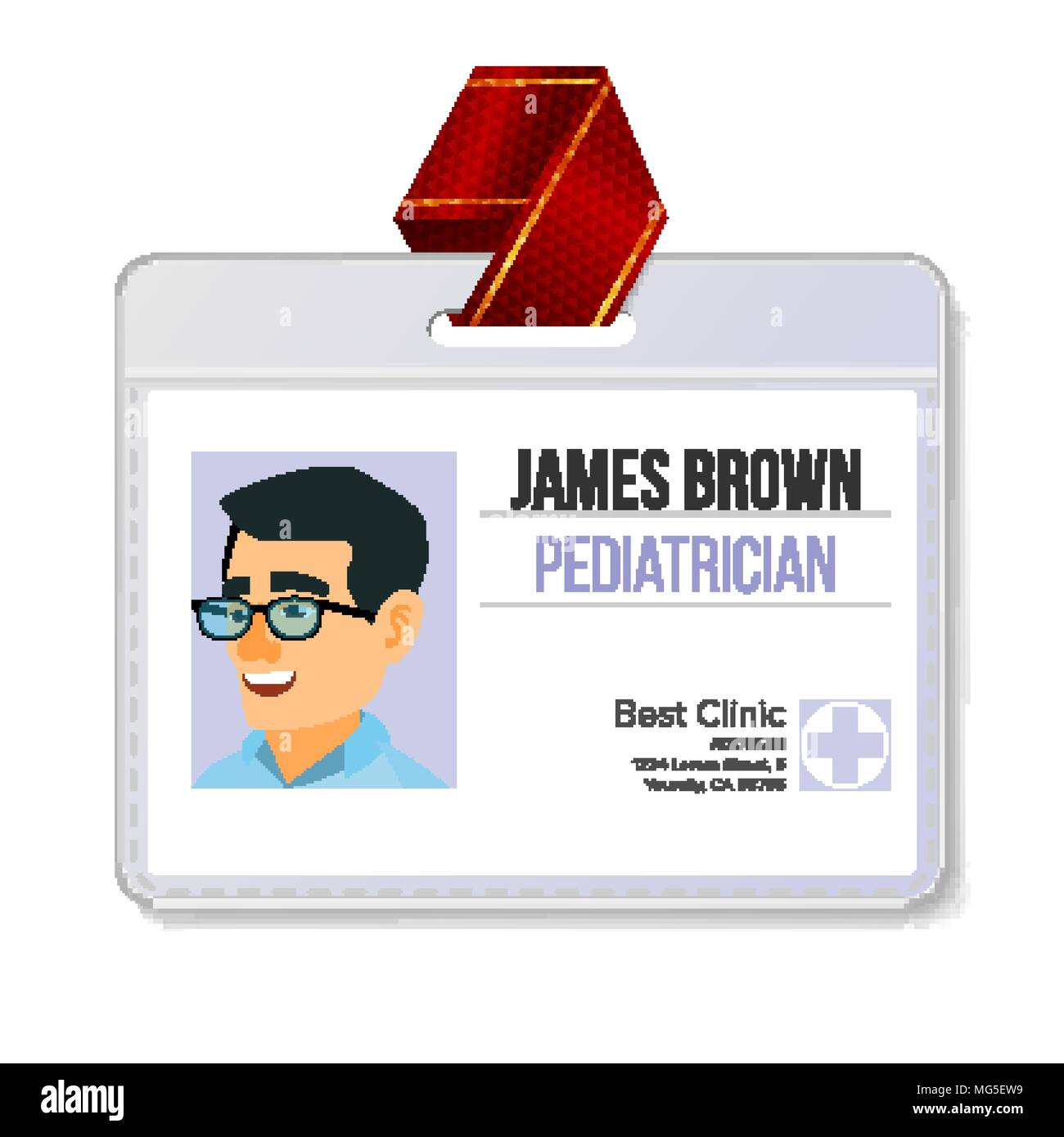 Pediatrician Medical Identification Badge Vector  Man  Name Tag